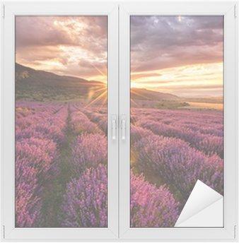 Adesivo per Vetri & Finestre Stunning paesaggio con campo di lavanda al sorgere del sole