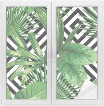 Adesivo per Vetri & Finestre Tropicali foglie di palma modello, fondo geometrica