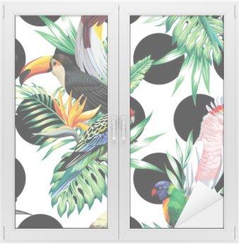 Adesivo per Vetri & Finestre Uccelli tropicali e foglie di palma modello