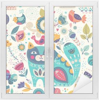 Adesivo per Vetri & Finestre Vector variopinta astratta con gatto belle, farfalle, uccelli e fiori