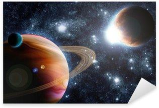 Pixerstick per Tutte le Superfici Pianeta astratto con sole riflesso nello spazio profondo - nebula stelle di nuovo