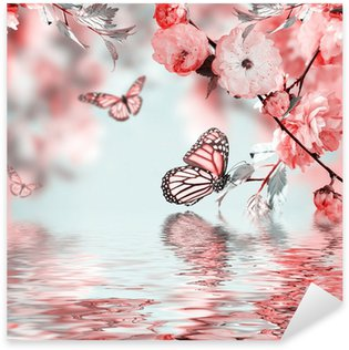 Pixerstick per Tutte le Superfici Rosa fiore di un Oriental cherry e la farfalla