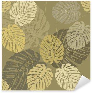 Adesivo Pixerstick Seamless pattern con foglie tropicali di Monstera