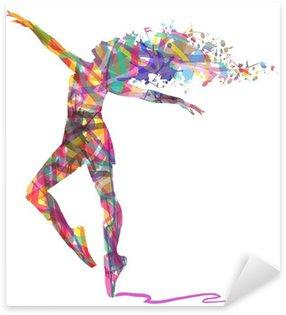Pixerstick per Tutte le Superfici Silhouette di ballerina composta da colori