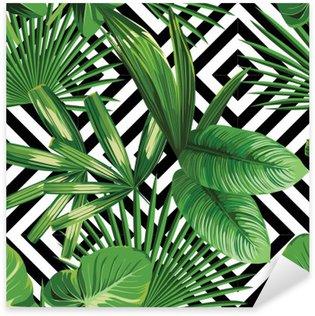 Adesivo Pixerstick Tropicali foglie di palma modello, fondo geometrica