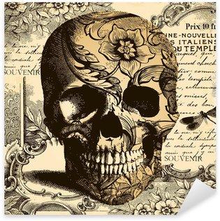 Adesivo Pixerstick Vintage Skull sfondo