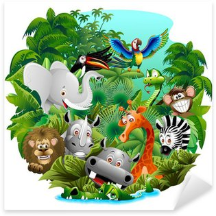 Pixerstick per Tutte le Superfici Wild Animals Cartoon on Jungle-Animali Selvaggi nella Giungla
