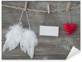 Pixerstick para Todas Superfícies Angel wings with heart and blank note
