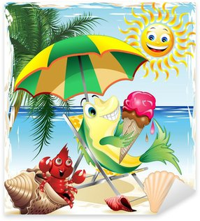 Pixerstick para Todas Superfícies Cartoon Fish with Ice Cream on Exotic Beach-Vector
