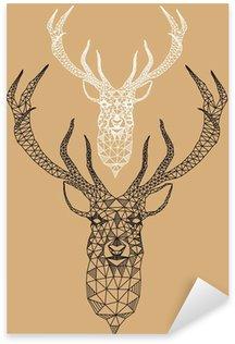 Pixerstick para Todas Superfícies Christmas deer with geometric pattern, vector