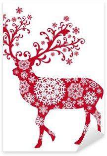 Pixerstick para Todas Superfícies Christmas deer with ornaments and snowflakes, vector