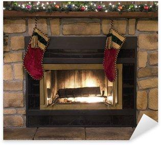 Pixerstick para Todas Superfícies Christmas Fireplace Hearth and Stockings Landscape