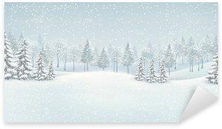 Pixerstick para Todas Superfícies Christmas winter landscape background. Vector.