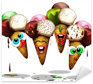 Pixerstick para Todas Superfícies Cono Gelato-Ice Cream-Glace-Cartoon