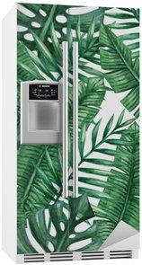 Adesivo Geladeira Aquarela folhas de palmeira tropicais padrão sem emenda. ilustração do vetor.