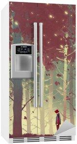 Adesivo Geladeira Homem que está na floresta bonita com folhas de queda, pintura ilustração