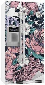 Adesivo Geladeira Teste padrão sem emenda bonito com as rosas desenhadas mão e floreios