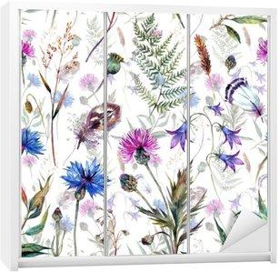 Adesivo de Guarda-roupas Flores silvestres desenhadas mão da aguarela