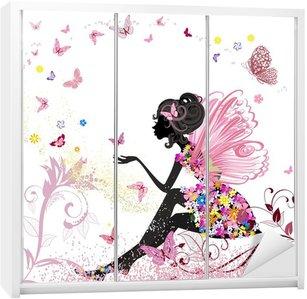 Adesivo de Guarda-roupas Flower Fairy in the environment of butterflies
