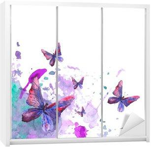Adesivo de Guarda-roupas Fundo abstrato da aguarela com as borboletas