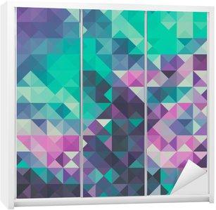 Adesivo de Guarda-roupas Fundo triângulo, verde e violeta