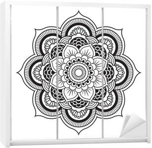 Adesivo de Guarda-roupas Mandala. Round Ornament Pattern