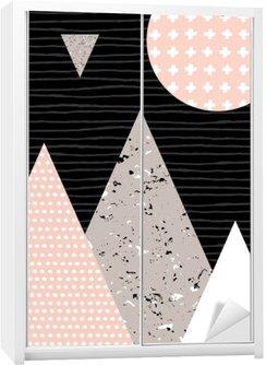 Adesivo de Guarda-roupas Paisagem abstrata geométrica