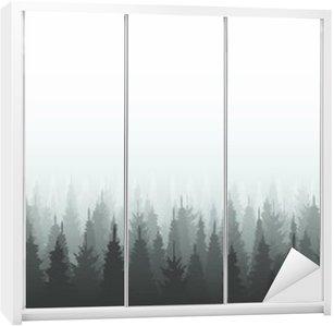 Adesivo de Guarda-roupas Template silhueta floresta de coníferas. ilustração das madeiras