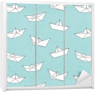 Adesivo de Guarda-roupas Teste padrão do barco de papel
