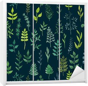 Adesivo de Guarda-roupas Vector verde aquarela floral seamless pattern.