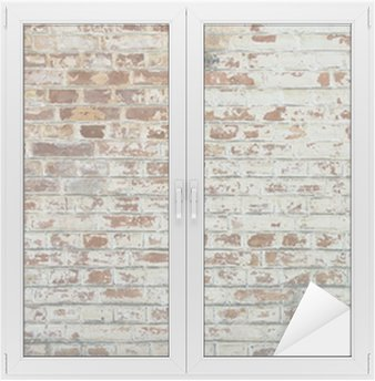 Adesivo de Janelas e Vidros Background of old vintage dirty brick wall with peeling plaster