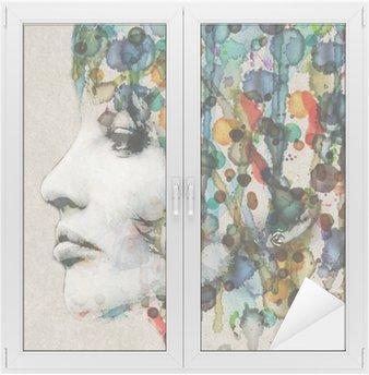 Adesivo de Janelas e Vidros Watercolor female profile