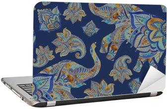 Adesivo de Notebook Aquarela elefante étnica com elementos de paisley background.