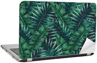 Adesivo de Notebook Aquarela folhas de palmeira tropicais padrão sem emenda. ilustração do vetor.