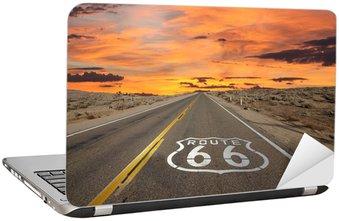 Adesivo de Notebook Route 66 Pavement Sign Sunrise Mojave Desert