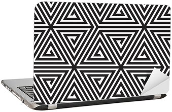 Adesivo de Notebook Triangles, Black and White Abstract Seamless Geometric Pattern,