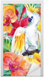 Adesivo de Porta Aguarela Cockatoo australiano padrão sem emenda