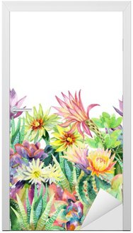 Adesivo de Porta Aquarela florescendo branco cacto