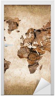 Adesivo de Porta Carte du monde bois, texture vintage