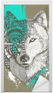 Adesivo de Porta Lobo estilizado Zentangle com respingos de tinta, ilustração desenhada mão