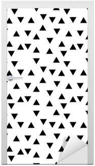 Adesivo de Porta Preto e branco moderno fashion triângulo padrão aleatório geométrico abstrato