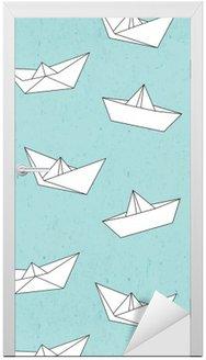 Adesivo de Porta Teste padrão do barco de papel