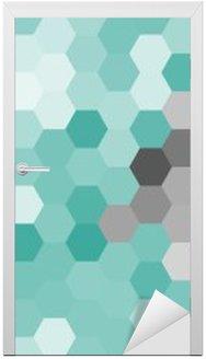 Adesivo de Porta Teste padrão do hexágono azul pastel geométrico sem contorno.