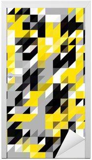 Adesivo de Porta Triângulo padrão de formas geométricas. Preto e amarelo