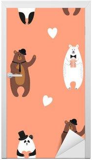 Adesivo de Porta Ursos bonitos padrão. fundo romântico sem emenda com urso polar, urso pardo e panda.
