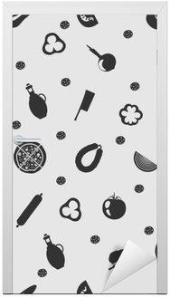Adesivo de Porta Vector a ilustração de pizza no padrão de fundo sem emenda