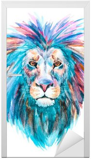 Adesivo de Porta Vector leão Watercolor