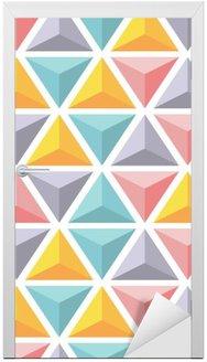 Adesivo de Porta Vector padrão sem emenda com as pirâmides coloridas triângulo.