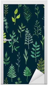 Adesivo de Porta Vector verde aquarela floral seamless pattern.