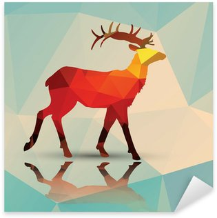 Pixerstick para Todas Superfícies Geometric polygonal deer, pattern design, vector